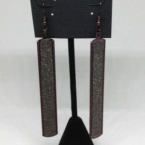 Drop Earrings Brown Sparkle Dangle Statement 1284